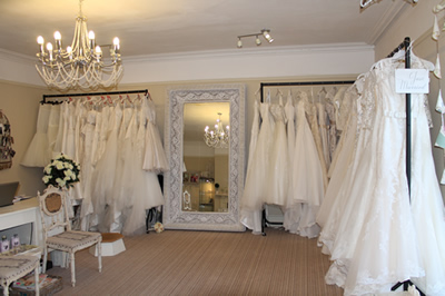 Inside the shop at Sarah's Wedding Boutique